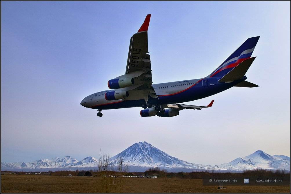 самолет, лайнер, ил-96, аэрофлот, посадка, горы, вулканы, камчатка, Александр Лицис