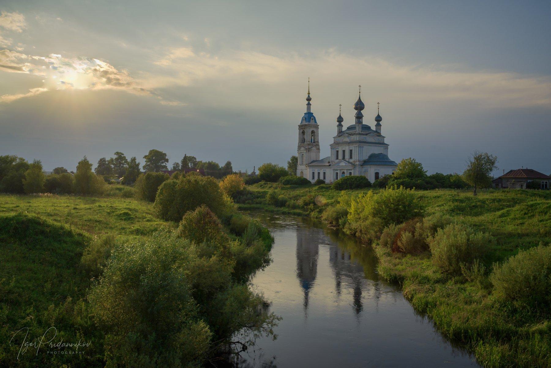 церковь, вечер, савинское, речка, устье, Приданников Игорь