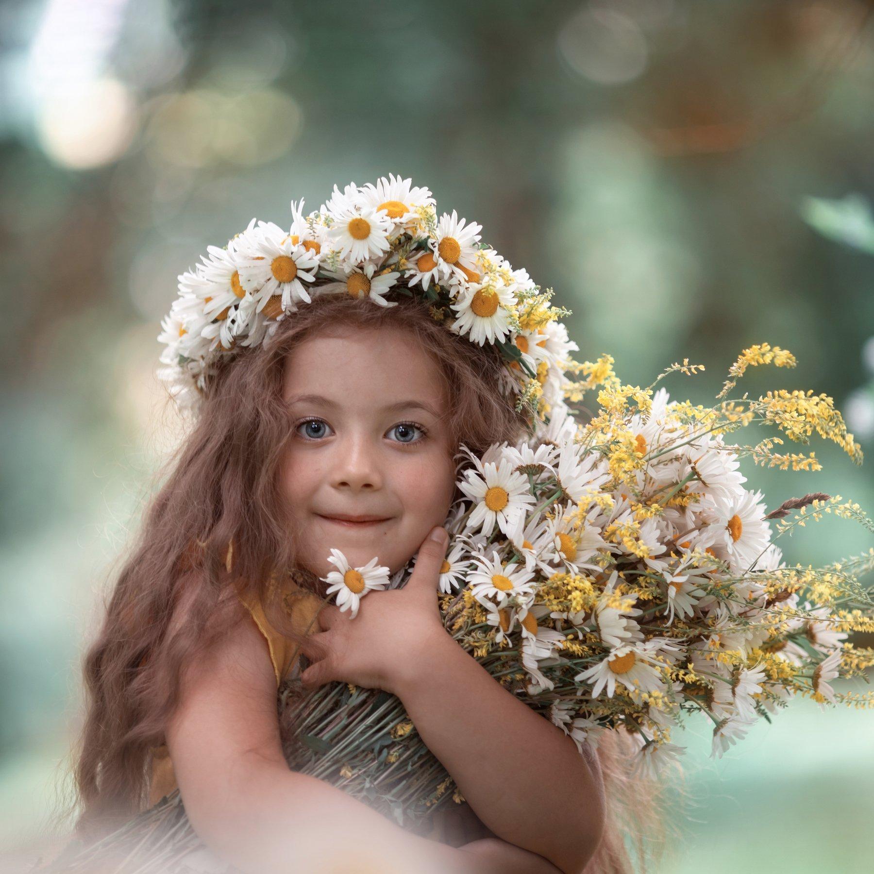 ромашки лето букет венок девочка счастье, Екатерина Годова