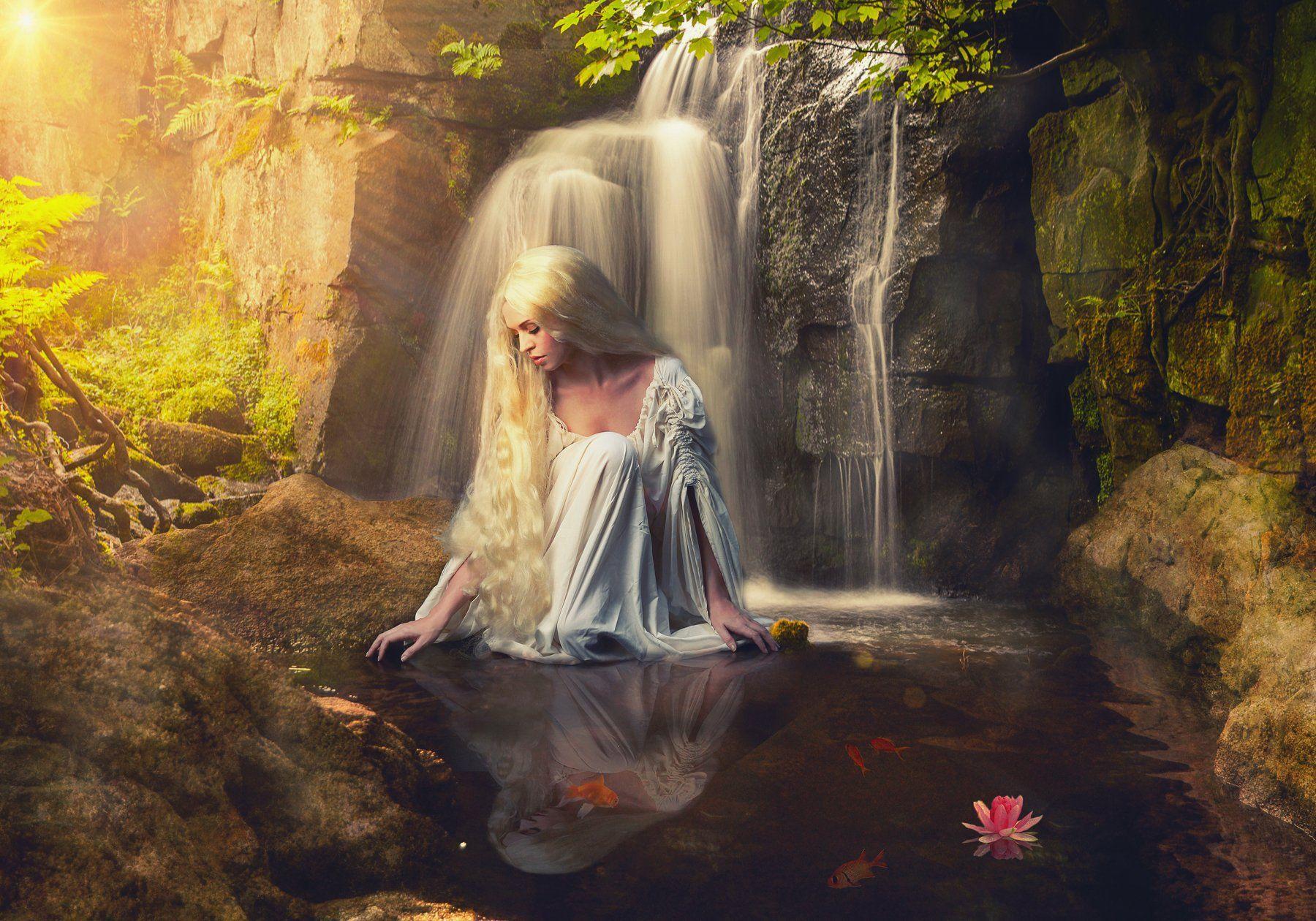 девушка, водопад, озеро, Sergii Vidov