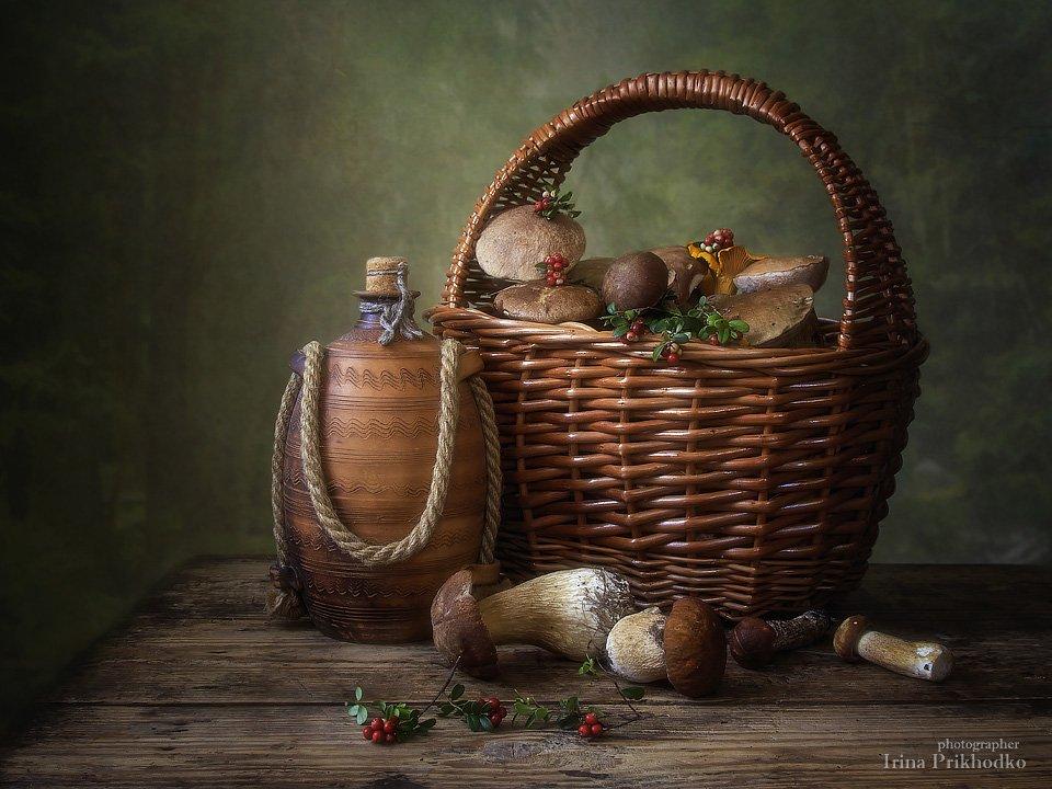 натюрморт, грибы, лето, корзина, винтажный натюрморт, , Ирина Приходько