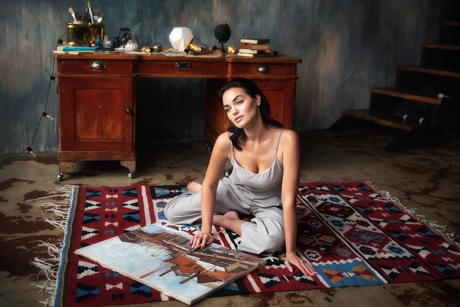 Модель, картина, художница, Бармина Анастасия