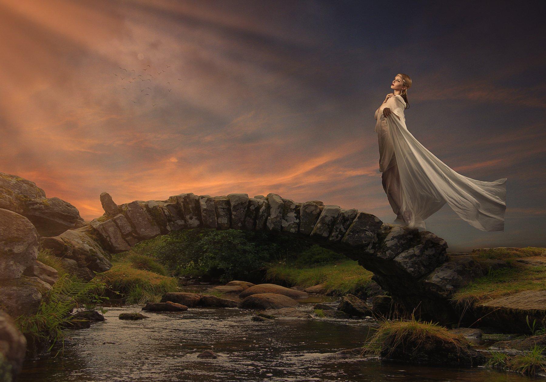 мост, девушка, облака, закат, Sergii Vidov