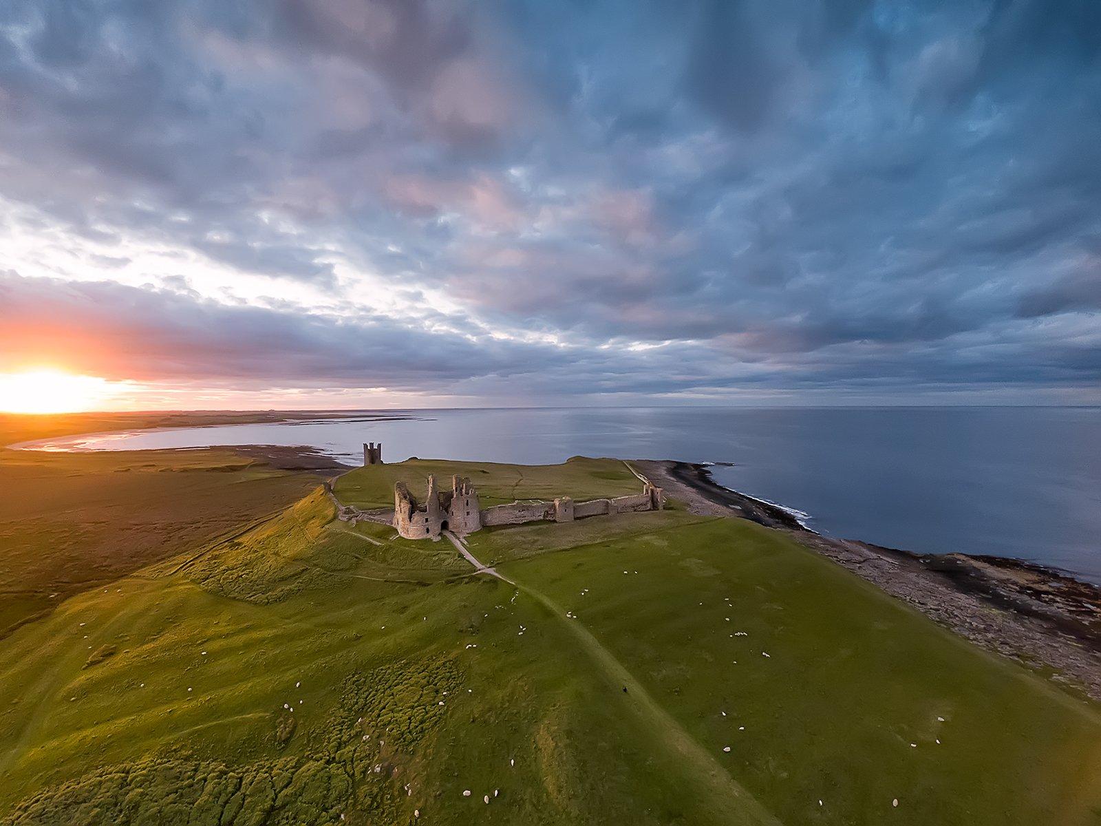 Northumberland, coastline, North Sea, UK, sunset, Ольга Тарасюк