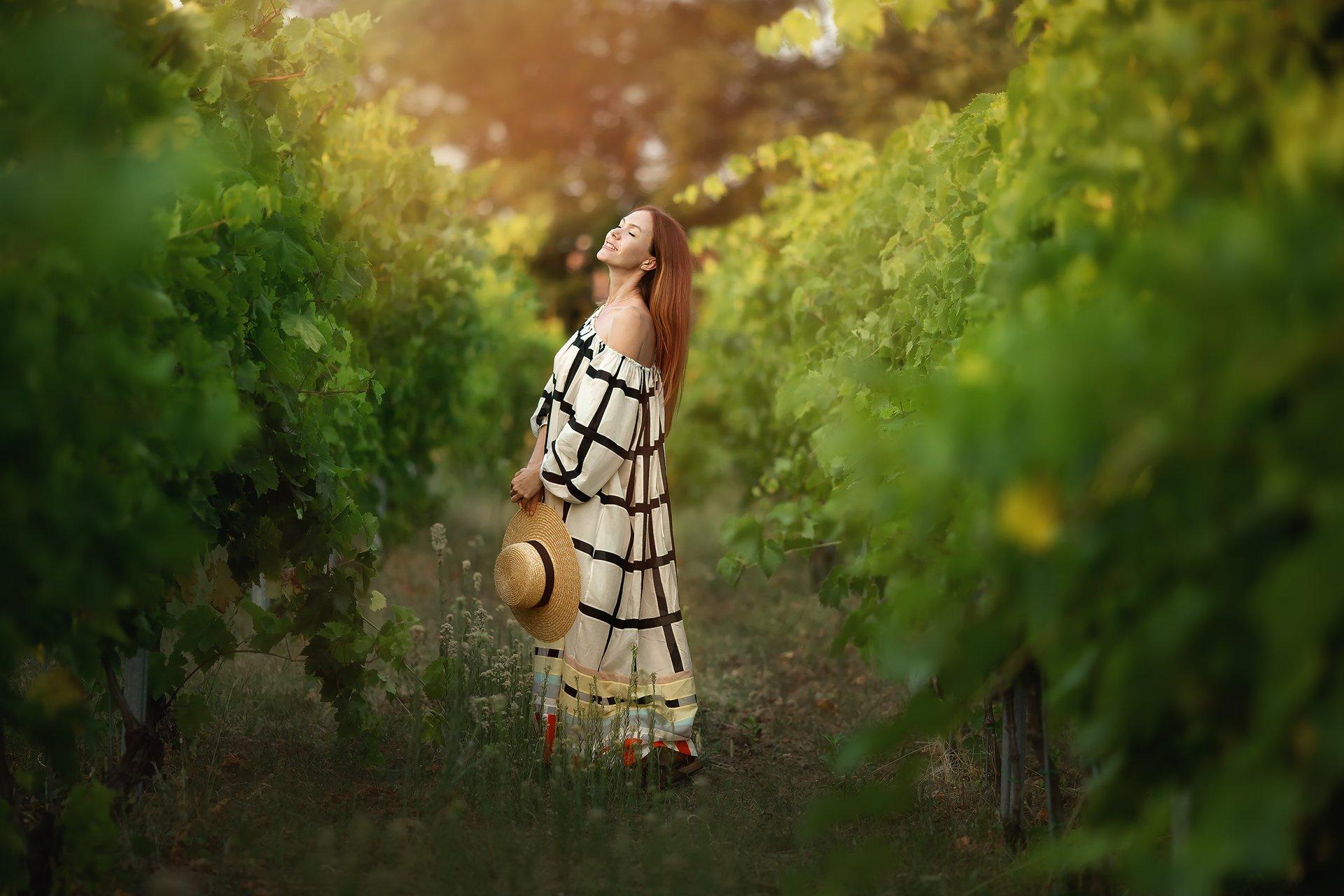 виноградник, лето, модель, Бармина Анастасия