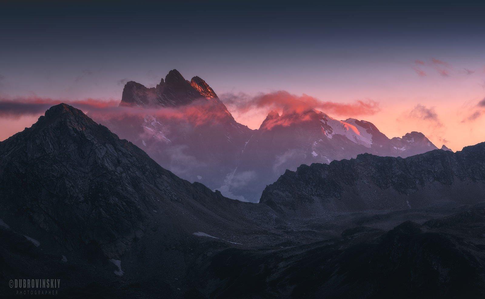 тебердинский заповедник, кавказ, горы, закат, Дубровинский Михаил