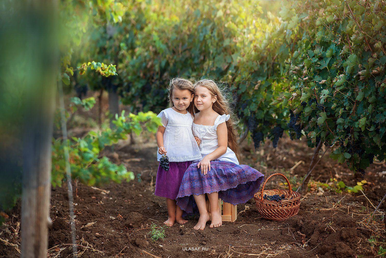 портрет, art, portrait, осень, sunset, закат, autumn, дети, девочки, girl, сестры, sister, волшебство, magik, грусть, виноград, виноградники, vine, grape, vineyards, Юлия Сафо