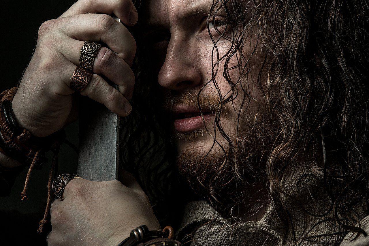 Слава, кольца, меч, воин, постановка, волосы, мужчина, портрет, Комарова Дарья