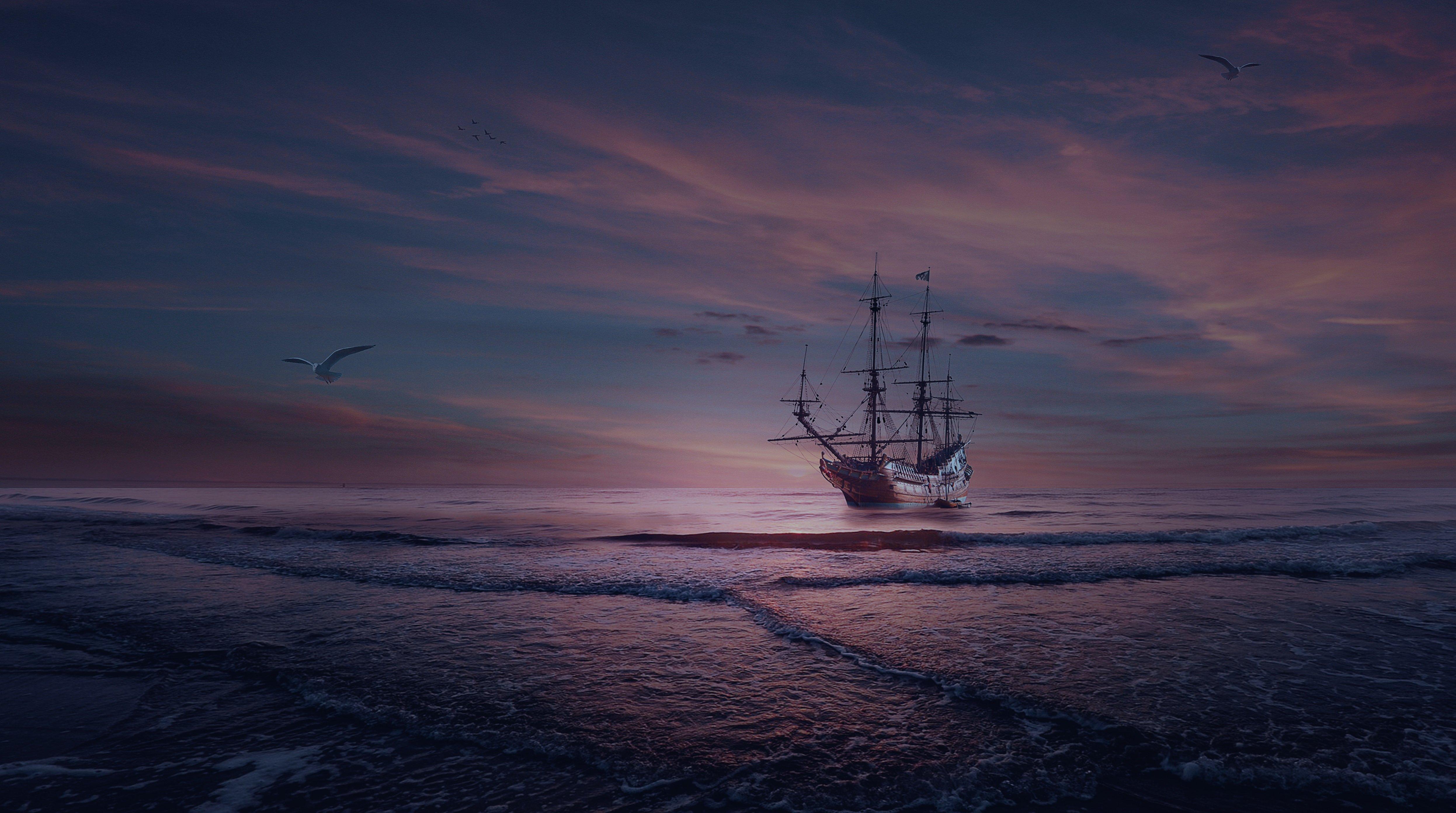 фрегат, облака, море, закат, Sergii Vidov