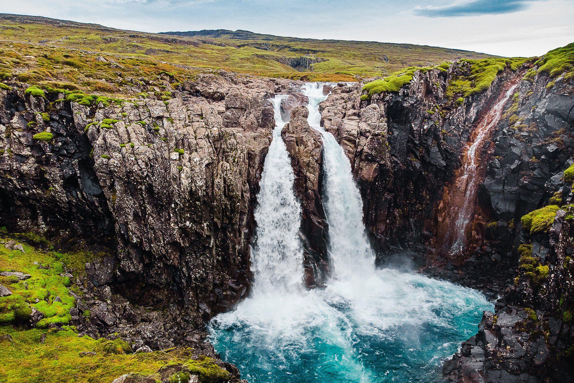 Iceland, waterfall, aerial, drone, mavic, air, Максим Зайцев