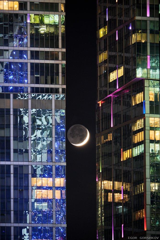 москва,луна,новолуние,москва-сити,ночь,ночной город,архитектура, Горшков Игорь