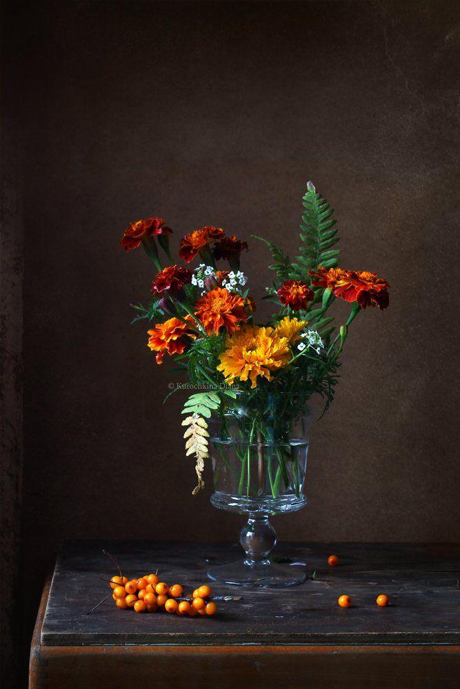 натюрморт, осенние цветы, цветы, букет, бархатцы, облепиха, Курочкина Диана