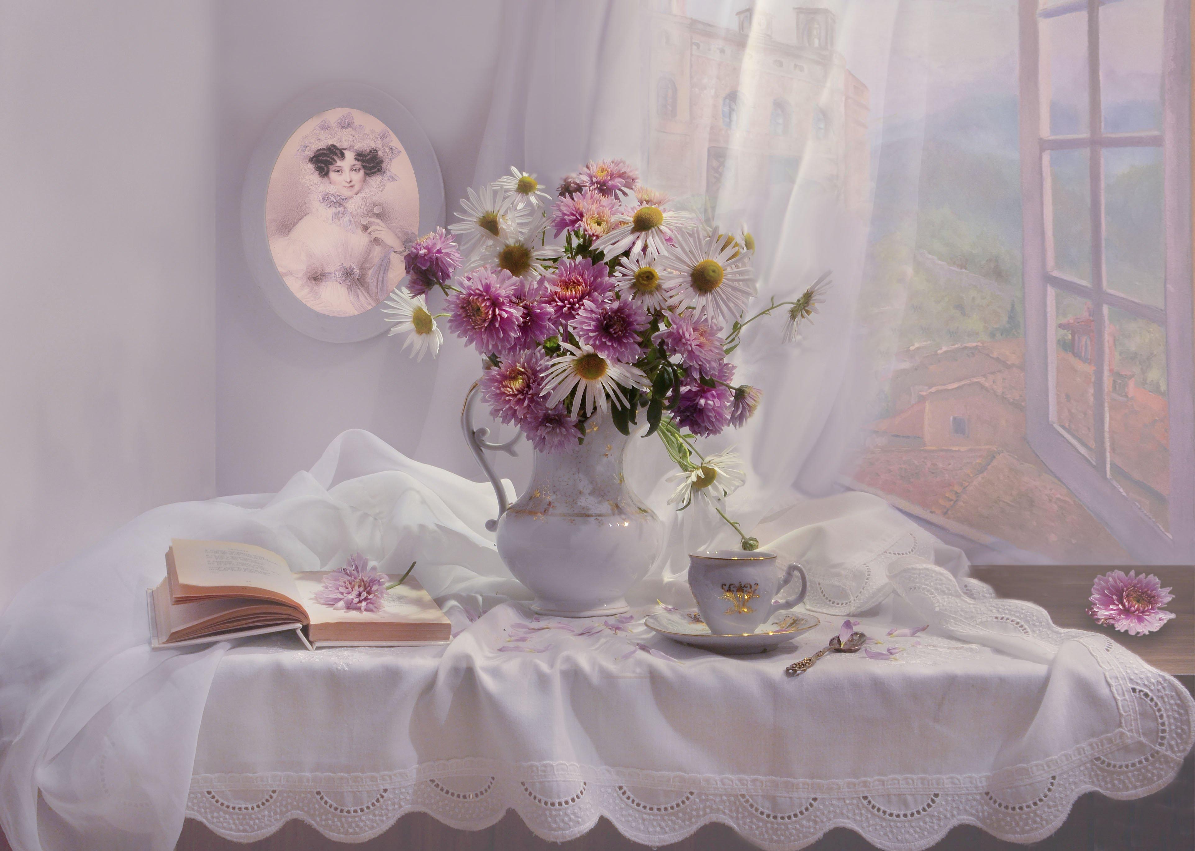 still life, натюрморт,цветы, хризантемы, фото натюрморт, стихи, октябрь, осень,  книга,  акварельный портрет, Колова Валентина