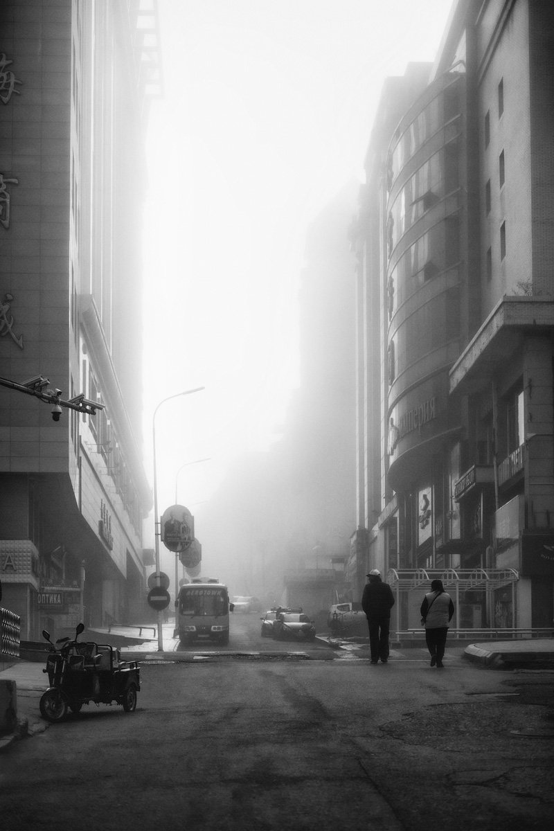 китай, утро, туман, город, тихий, Андрей Кровлин