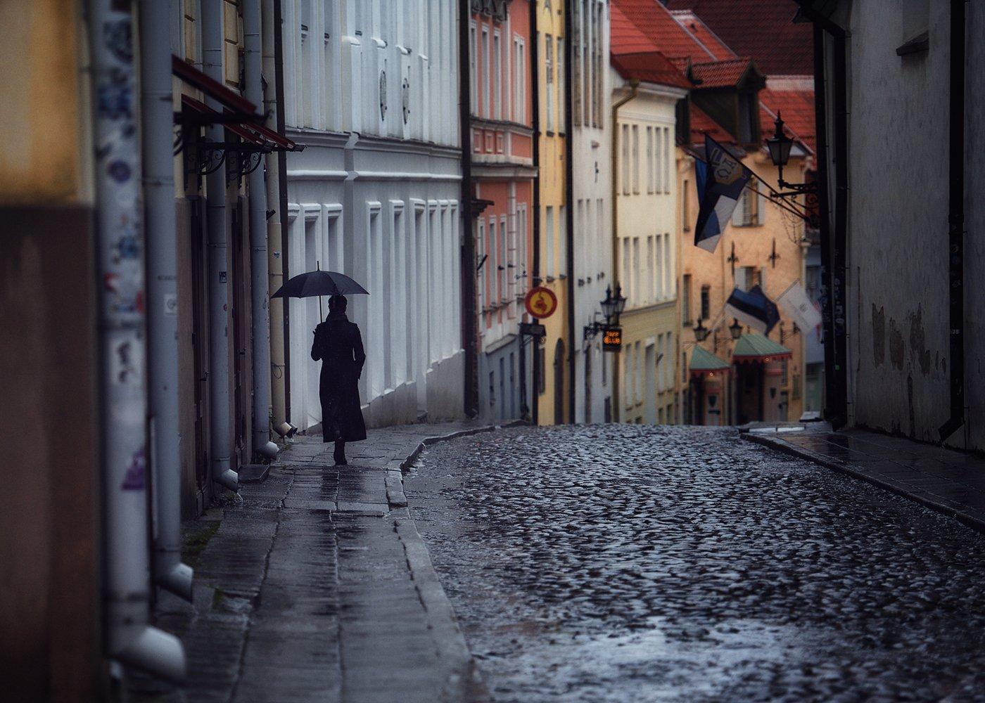 девушка, дождь, улица, Вьюшкин Игорь