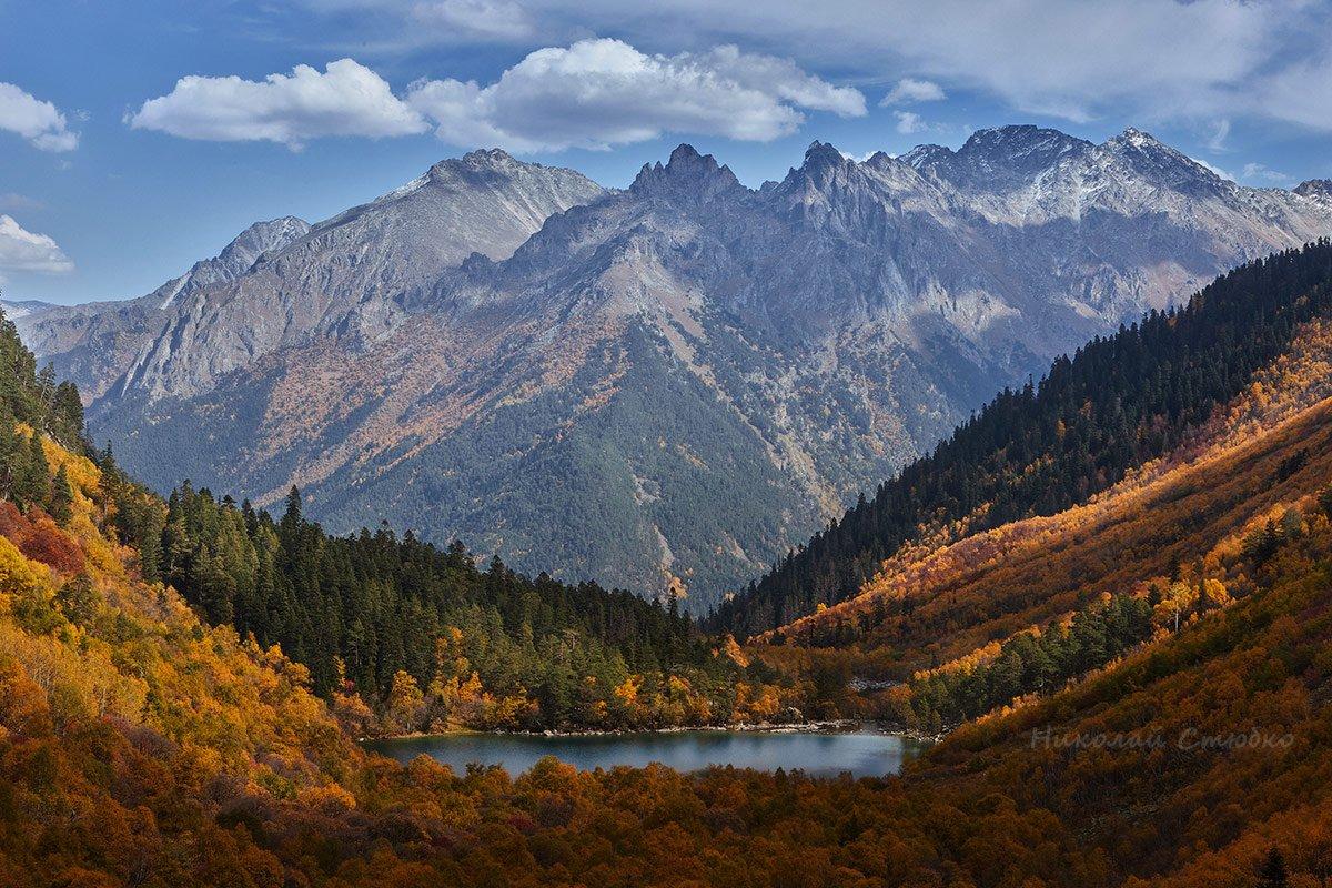 кавказ горы осень озеро лес, Николай Стюбко