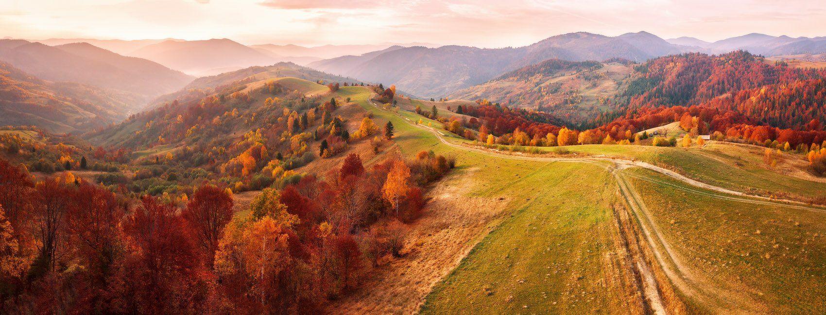 вечер, горы, дронофото, закарпатье, закат, карпаты, октябрь, осень, украина, Вейзе Максим