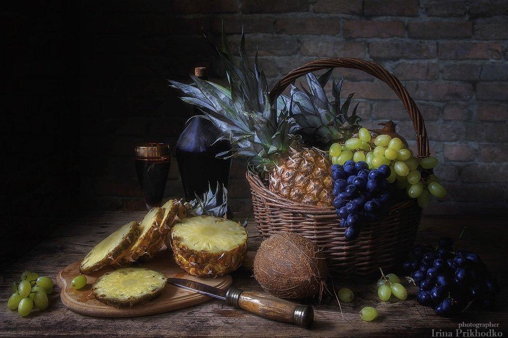 натюрморт, фрукты, тропические, корзина, вино, , Ирина Приходько