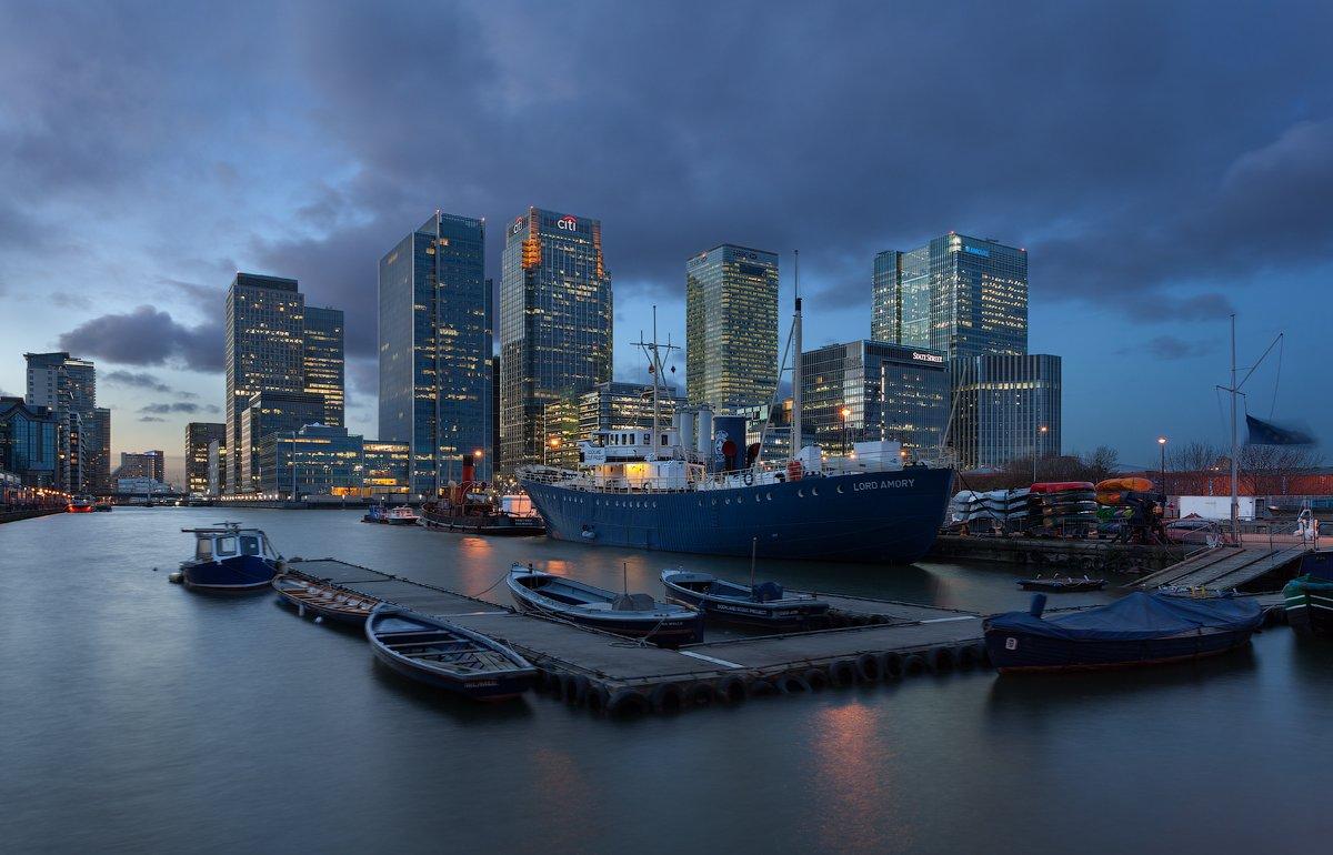 uk, london, canary wharf, blue hour, англия, лондон, Alex Darkside