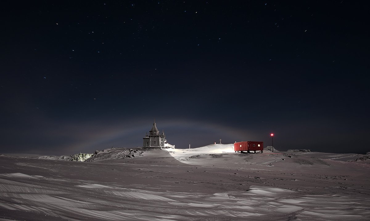 антарктика, king georg island, станция беллинсгаузен, лунная радуга, ночная радуга., Руслан Елисеев