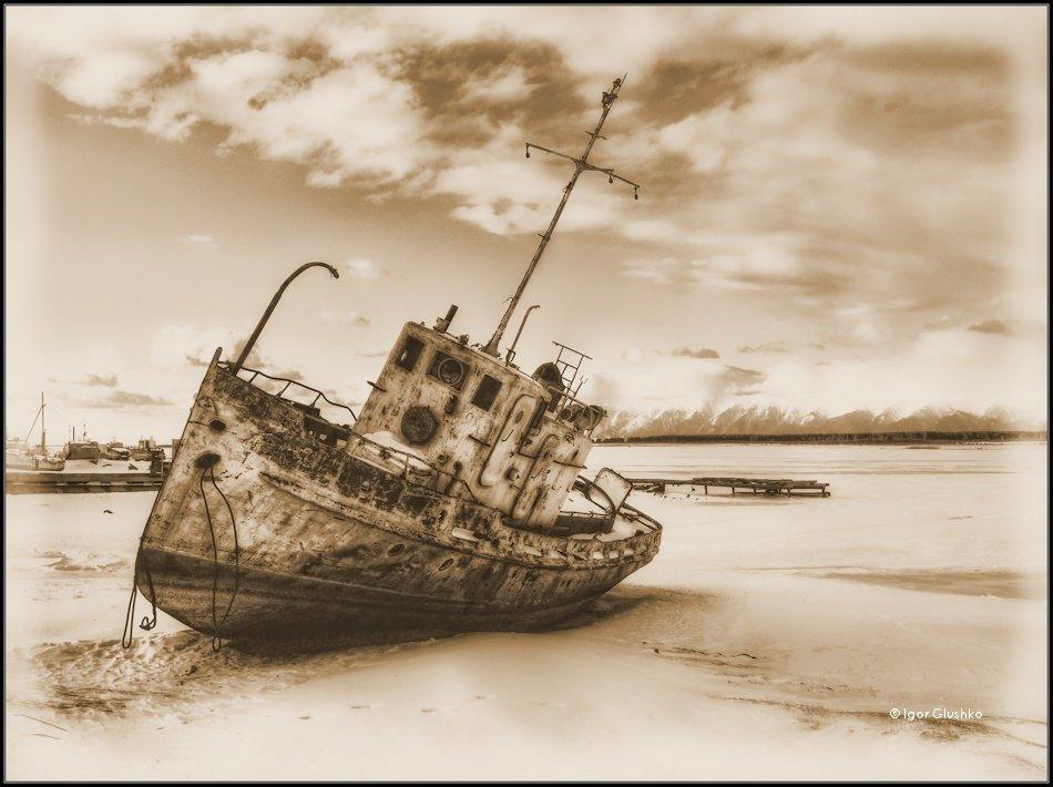 байкал, корабль, берег, зима, Igor Glushko