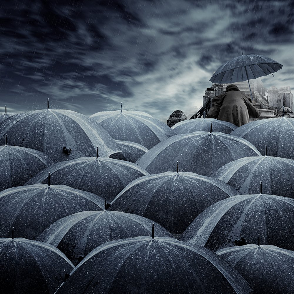 woman, umbrella, surrealistic, manipulation, tutorials, psd, sky, clouds, stairs, Caras Ionut