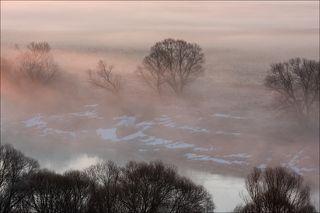 Рисунки тумана на восходе