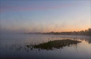 Рассвет над лесным озером