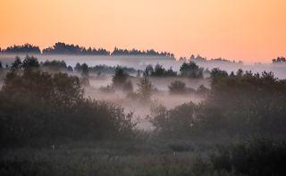 02 Утренний туман в этот раз порозовел ещё до восхода солнца