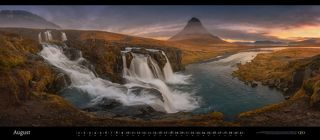 Kirkjufell mountain and falls. Snæfellsnes Peninsula, Iceland. February 2017. Panoramic