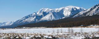 Покрытая льдом южная часть бухты Заворотной и гора Елбырь.