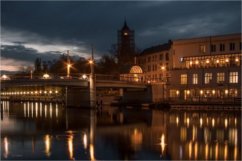 foto liubos, германия, бранденбург, вечер, отражения, мост, огни Вечер на реке Хафель..Бранденбургphoto preview