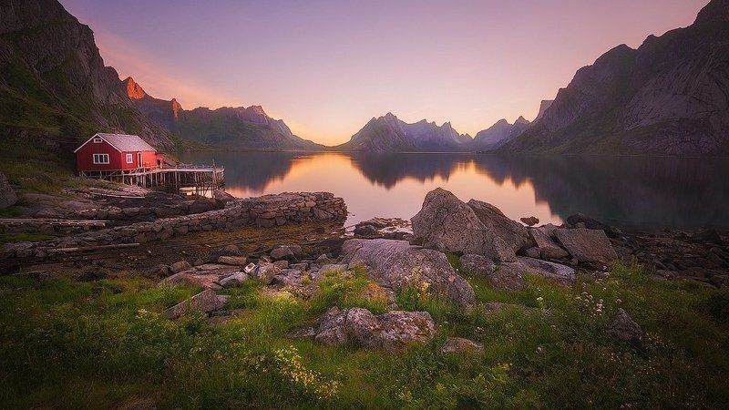 landscape, lofoten, reine Тихое утроphoto preview