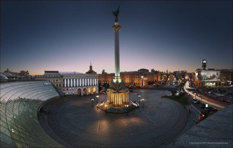 киев, майдан незалежності, архитектура, вечерний киев Вечірній Майдан Незалежності.photo preview