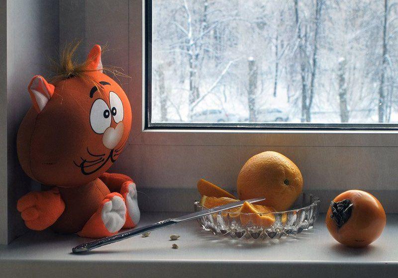 Апельсин, Зимний, Игрушка, Натюрморт, Хурма И скучно, и грустно... зима...photo preview