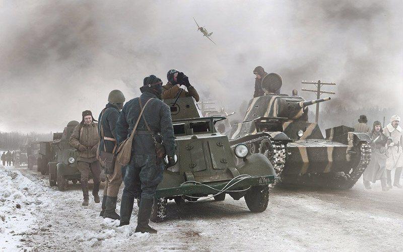 передовой отряд, ба-20, т-26, зима, война, снег Передовой отряд...photo preview