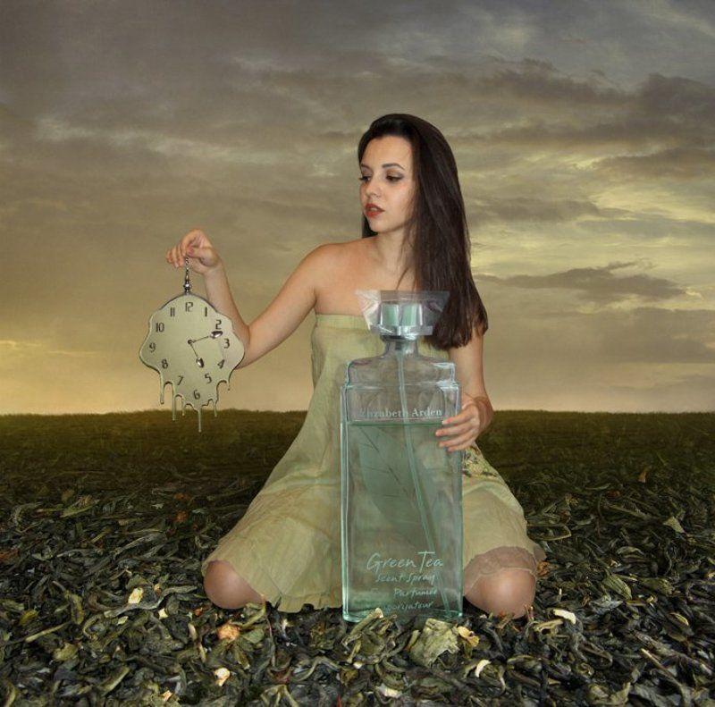Время, Девушка, Зелёный чай, Часы Время зелёного чая...photo preview