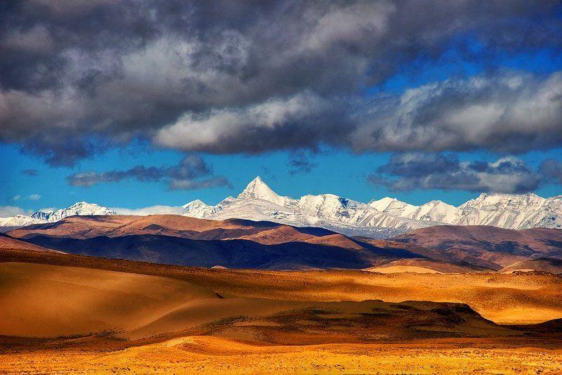 азия, гималаи, горы, дюны, китай, облака, песок, тибет Гималаи и песчаные дюны Тибетаphoto preview