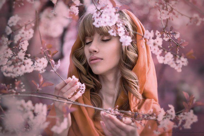 Вишня, Женщина, Цветы, Юность Время расцвета.....photo preview