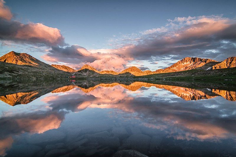 Lake, Mirror, Mountain, Reflection, Sunset Wishing for Cloudsphoto preview