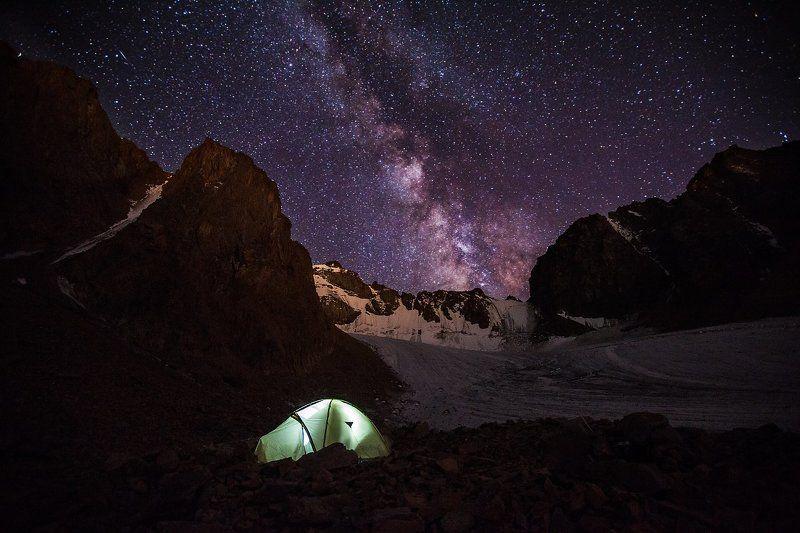 Glacier, Ice, Milky way, Mountains, Night, Sky, Tent Млечный путь над ледником Богдановича.photo preview