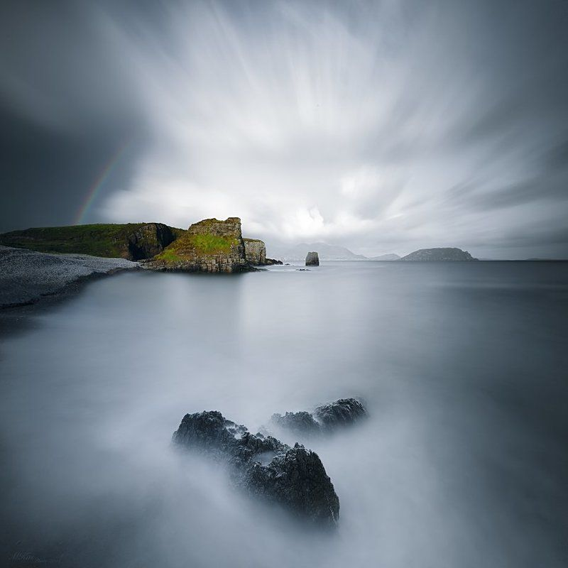 Atlantic Ocean, Co. Donegal, Ireland, Long exposure, Rain, Rainbow, Rocks, Stones Co. Donegalphoto preview