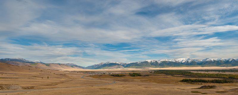 Горный алтай, Горы, Небо, Панорама, Северо-чуйский хребет, Степь Курайская степьphoto preview