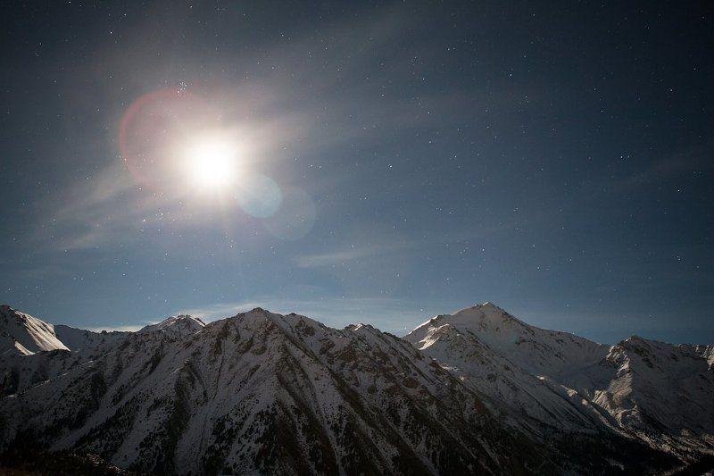 Autumn, Fall, Glacier, Lake, Moon, Mountain, Night, Sky, Snow, Stars, Water Night big Almaty lake.photo preview