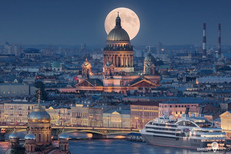 Boat, Bridge, Cathedral, Church, Cityscape, Ferry, Fullmoon, Isaacs, Moon, Neva, Petersburg, Pietari, Piter, River, Saint-Petersburg, Ship, Siljaline, SPb photo preview