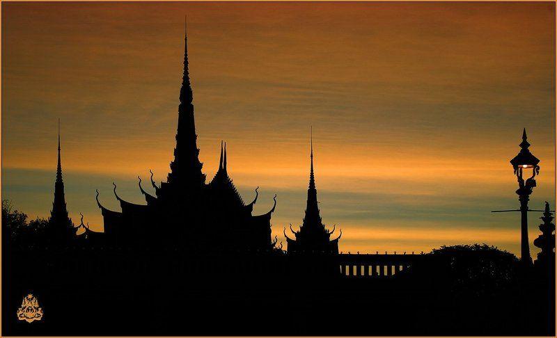 камбоджия, пном, пень, силуэт, королевский, дворец Пном Пеньphoto preview