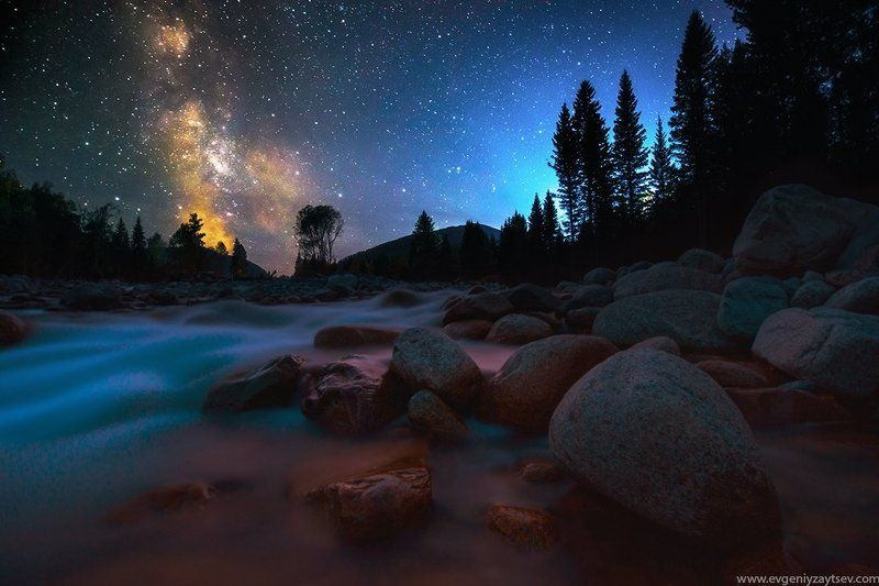 Altai, Astrophotography, Long exposure, Milky way, Night, River, Stars Multa Riverphoto preview