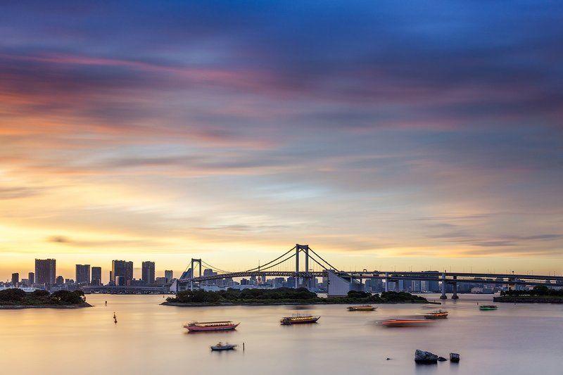 вечер, длинная выдержка, закат, мост, небо, япония, токио, город Закат в Токиоphoto preview