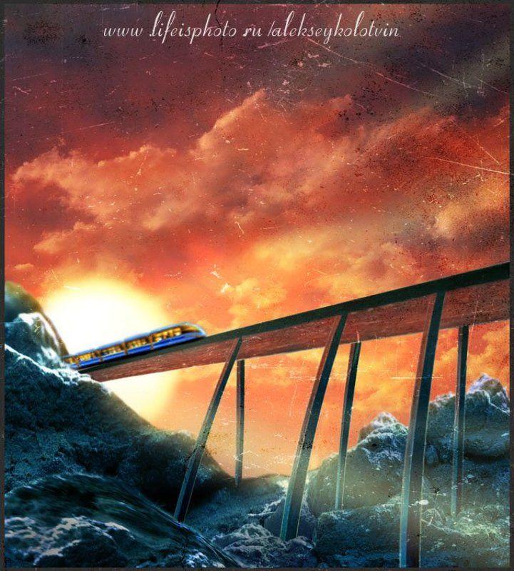 пейзаж, рисунок, поезд, landscape, figure, train рассветный экспресphoto preview