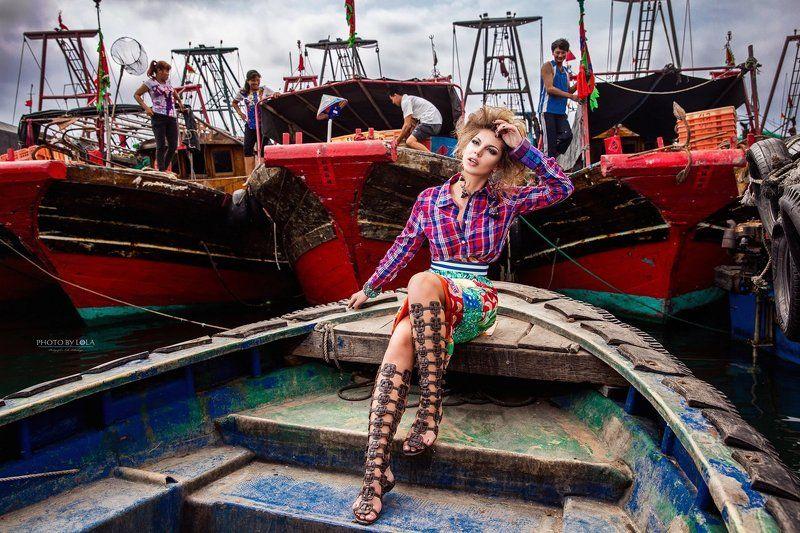 хайнань, остров, фотосессия, модель, красота, море, деревня, лодки HAINAN FASHION LOOK #1photo preview